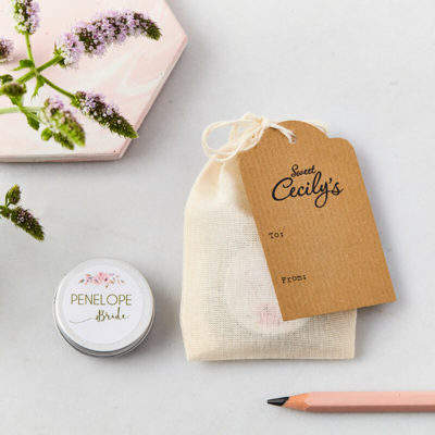 Bride Lip Balm with bag and tag