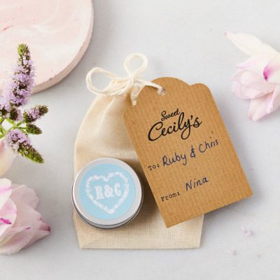 Monogram Wedding Favours with bag and tag